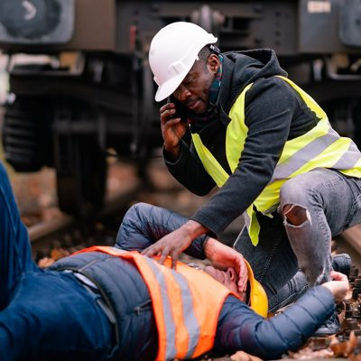 Railroad engineer injured in an accident at work. Railroad engin